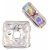 Rhinestone Square Rondelle (Flat) 6X6mm Crystal Aurora Borealis/silver
